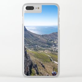 Cable car going up Table Mountain in Cape Town, South Africa Clear iPhone Case
