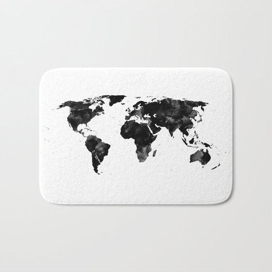 Black watercolor world map Bath Mat