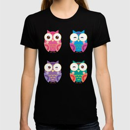 pattern - bright colorful owls on white background T-shirt