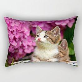 Kittens in bowl Rectangular Pillow