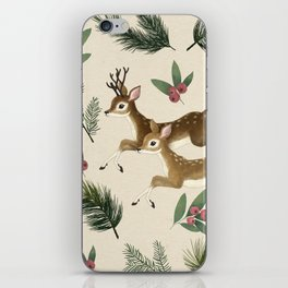 winter deer // repeat pattern iPhone Skin