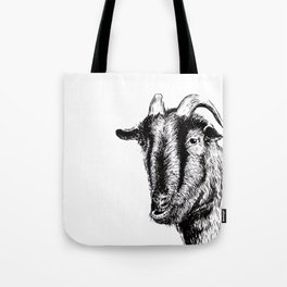 Interaction with goat Tote Bag