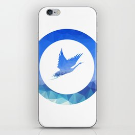 Hand holding flying bird. Vector illustration. iPhone Skin