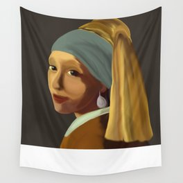 Wearing her Sister's Pearl Earring Wall Tapestry