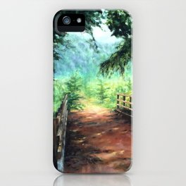 Landscape of nature with a wooden bridge iPhone Case