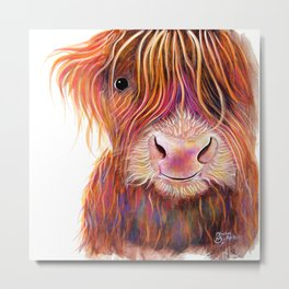 Scottish Highland Cow ' THe KiD 2 ' by Shirley MacArthur Metal Print