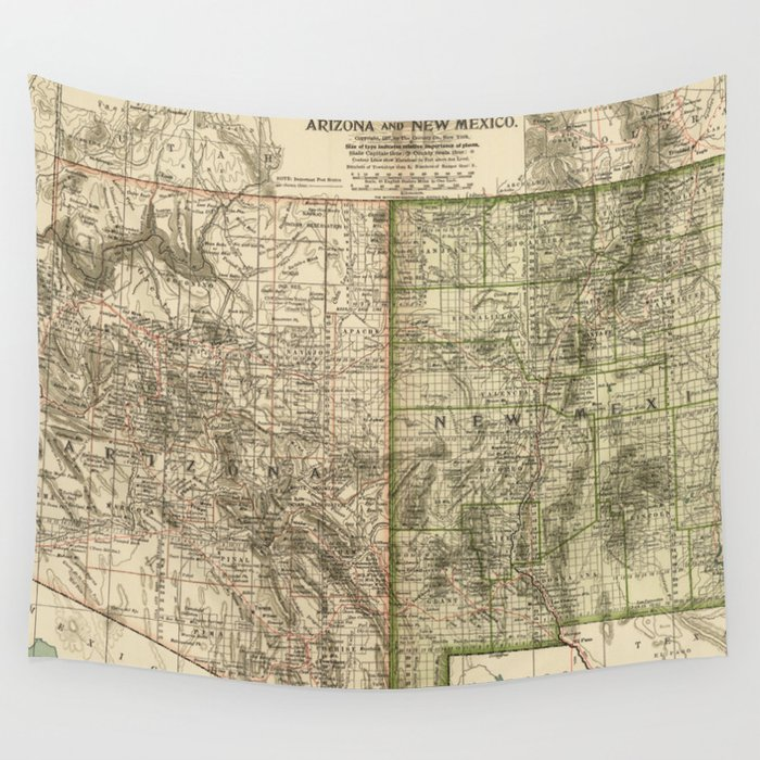 Vintage Map of Arizona and New Mexico (1899) Wall Tapestry by bravuramedia