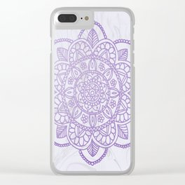 Lavender Mandala on White Marble Clear iPhone Case