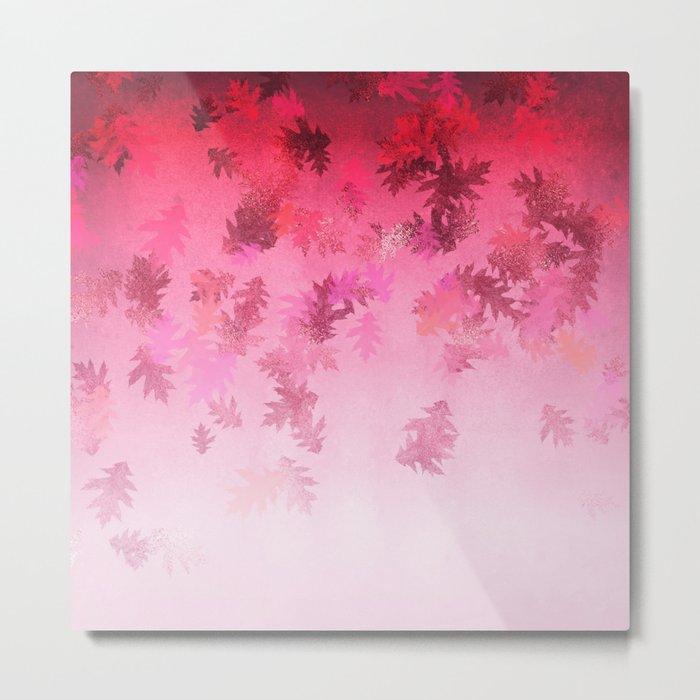 Autumn-world 4 -  leaves on pink Metal Print