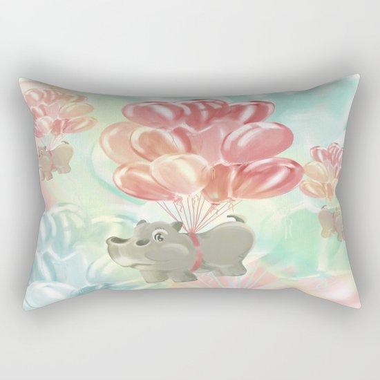 Flying hippos Rectangular Pillow