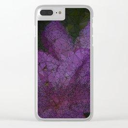 Low Poly Purple Azalea Flowers Clear iPhone Case