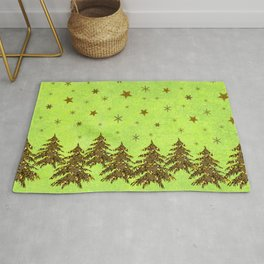 Sparkly Christmas tree, stars on abstract green paper Rug