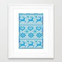 scandinavian Framed Art Prints featuring Scandinavian Knitting by Vannina