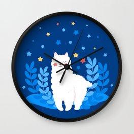 Alpaca Llama Cute Cartoon White Character Wall Clock