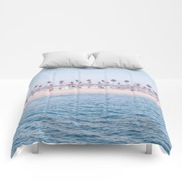 Vintage Newport Beach Print {3 of 4} | Photography Ocean Palm Trees Cool Blue Tropical Summer Sky Comforters