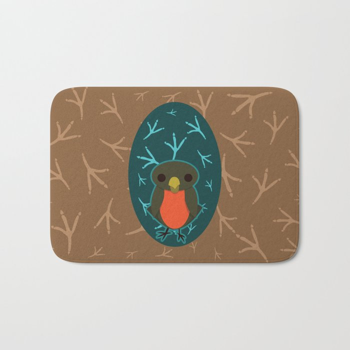 Robin with Foot Prints Bath Mat