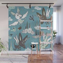 chipegacorn, chihuahua dog + pegasus + unicorn mythical creature! chipegacorn, chihuahua dog + pegas Wall Mural