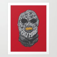 dumb and dumber Art Prints featuring A Real Nice Ski Mask - Dumb and Dumber by Panda McFan