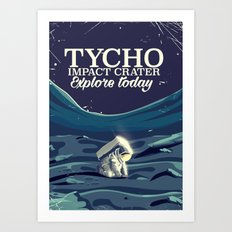 Tycho Lunar crater travel poster Art Print