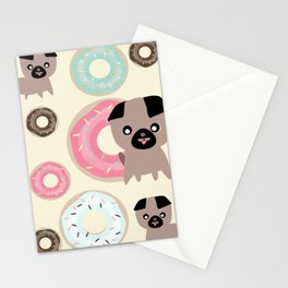 Pug and donuts beige Stationery Cards