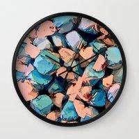salt water Wall Clocks featuring Salt Water Taffy by Sandra Bauser Digital Art