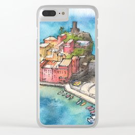 Cinque Terre ink & watercolor illustration Clear iPhone Case