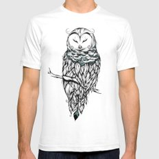 Poetic Snow Owl SMALL Mens Fitted Tee White