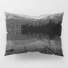 Lassen Volcanic National Park - Mt. Lassen Reflection in Black and White Pillow Sham