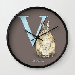 V is for Viscacha: Under Appreciated Animals™ ABC nursery decor dark grey unusual animals Wall Clock