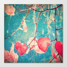 Autumn Hea(u)rts - Textured photography, pinks leafs in blue sky  Canvas Print