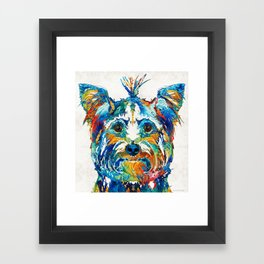 Colorful Yorkie Dog Art - Yorkshire Terrier - By Sharon Cummings Framed Art Print