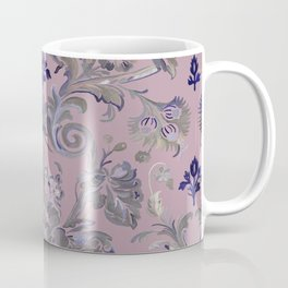 Painted Tibetan Brocade Mauve Coffee Mug