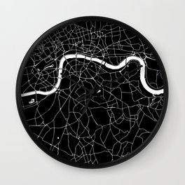 Black on White London Street Map II Wall Clock