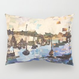 """Boats on the Bay"" Paper Collage by Willowcatdesigns Pillow Sham"