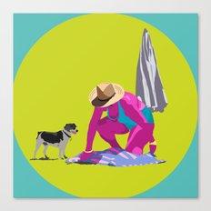 Señora y perro Canvas Print