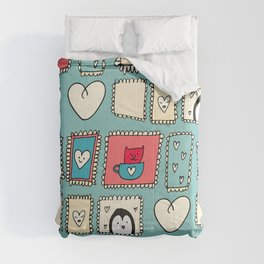 Valentines Cute Frames Blue #Valentines  Comforters