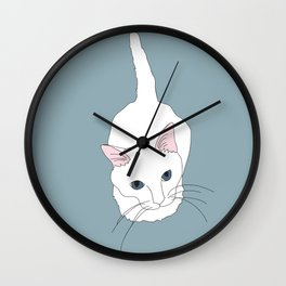 Kitty cat Illustrated Print White Pink Blue Wall Clock