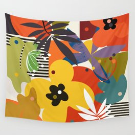 mid century minimal floral Wall Tapestry