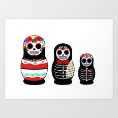 Halloween Russian dolls Art Print