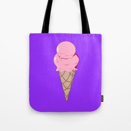 A Strawberry Ice Cream in a Cone with Purple Background Tote Bag