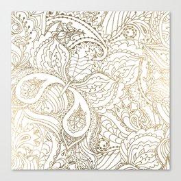 Elegant hand drawn white faux gold luxury floral Canvas Print