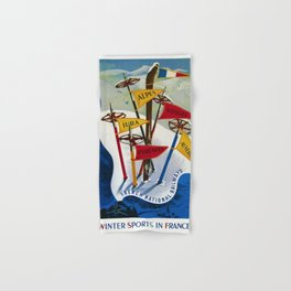 Vintage Winter Sports in France Skiing - Mountain Climbing Travel Advertising Poster Hand & Bath Towel