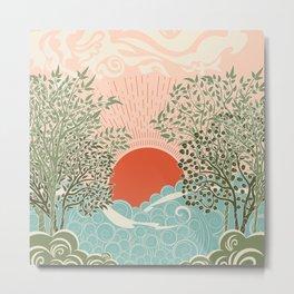 Pink sunrise over sea waves art moderne Metal Print