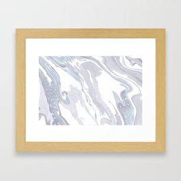 Navy Marble Waves Framed Art Print