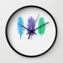 3 Feathers Wall Clock