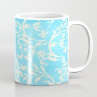shabby chic Mugs featuring Shabby Chic Aqua Damask by Miriam Hahn