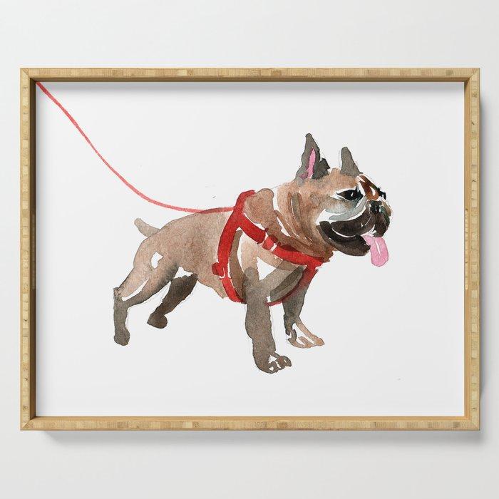 watercolor dog vol 5 french bulldog Serving Tray