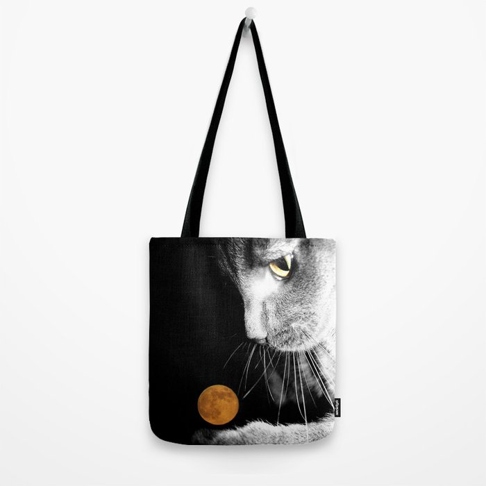 Silver Cat and Moon Tote Bag