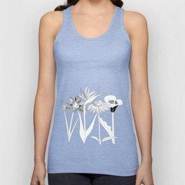Spring Flowas Bring Girl Powas, Black and White Illustration Unisex Tank Top