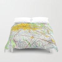 houston Duvet Covers featuring Houston old map by Larsson Stevensem